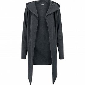 Кардиган URBAN CLASSICS Long Hooded Open Edge Cardigan (Серый (Charcoal) TB1389