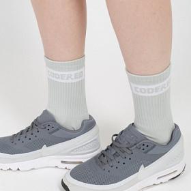 Носки CODERED средней длины Boxlogo Sock Серый Меланж/Белое Лого